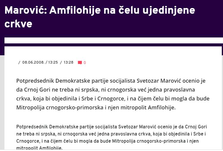 Амфилохије је још пре скоро две деценије испланирао уједињену аутокефалну цркву у Црној Гори