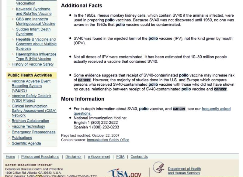 ЦДЦ признаје да је 98 милиона Американаца добило вирус рака путем вакцине против дечије парализе